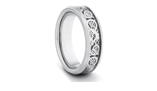 6 mm/hombre/mujer de carburo de tungsteno pulido y unisex Anillo de bodas anillo ajuste cómodo w/plata incrustaciones de dragón asiático (tamaños ...