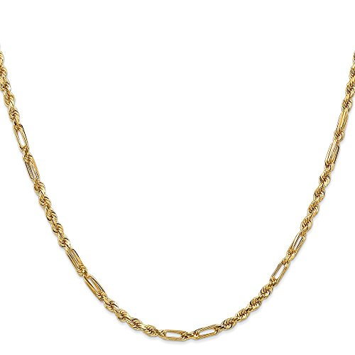 14K Yellow Gold 3.00MM Milano Rope Link Chain Necklace, 24