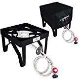 Gas ONE 200,000 BTU Propane Burner with Cover Single Burner Outdoor Burner Camp Stove Propane Gas Cooker with Adjustable 0-20PSI Regulator and Steel Braided Hose Perfect for Home Brewing, Turkey Fry,