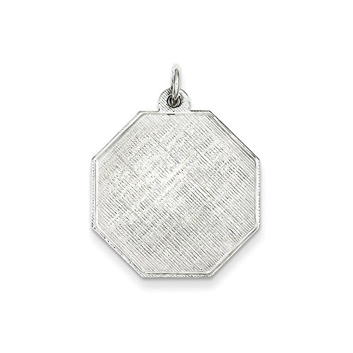 Sterling Silver Engravable Octagon Patterned Disc Charm (24 x 21mm)