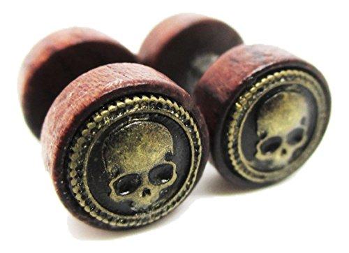 l Skull Emblem Stud Post Earrings - New - Pair! ()