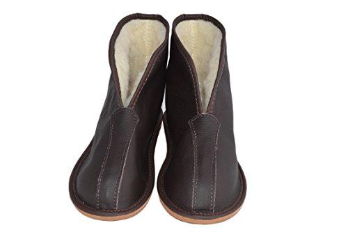 Naturale Pecora Pelle Leather In Di Pantofole 45 Taglia Fodera Brown 36 E Lana Unisex U84HHxt