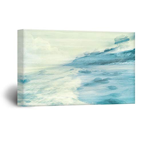 """Gogobebe Canvas Wall Art Print Paintings Watercolor Style Landscape of a Coast - Giclee Print Livingroom/Bedroom Decor Stretched and Framed Ready to Hang - 12"""" x 20"""""""