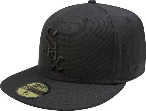 - MLB Chicago White Sox Black on Black 59FIFTY Fitted Cap, 7 1/4