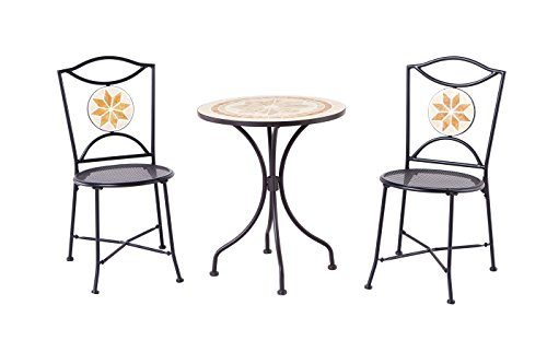 Backyard Classics Ashland 3-Piece Mosaic Patio Set with Mesh Chairs and Round Table - Mosaic Patio Bistro Set