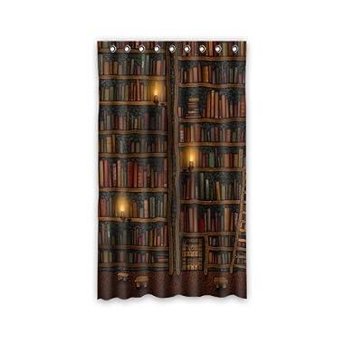 Custom Old Library Books Bookshelf Window Curtains/drape/panels/treatment Polyester Fabric Bedroom 50 x84