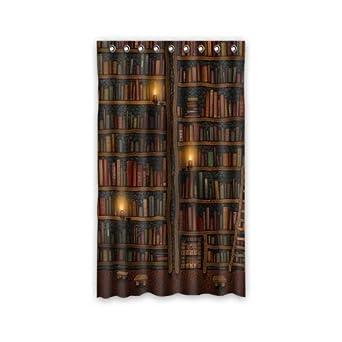 Custom Old Library Books Bookshelf Window Curtains Drape Panels Treatment Polyester Fabric Bedroom