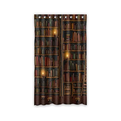 book lover bedroom ideas : Custom Old Library Books Bookshelf Window Curtains
