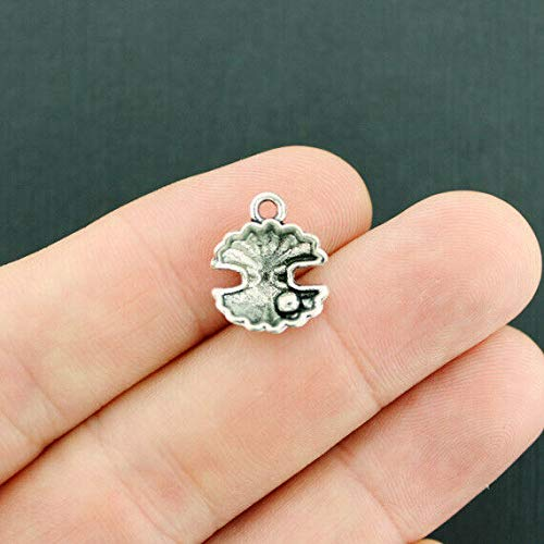 12 Oyster Shell Charms Antique Silver Tone 3D Seashell - SC7675 ()