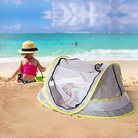 Travel Baby Crib Bed//Ultralight Weight Portable Pop Up//UPF 50+ // Infant Outdoor Sunshade Light Pink Baby Beach Tent UV Protection//Mosquito Proof Net //