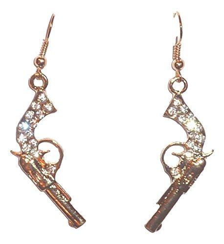 Gold Tone Sport Earrings (Small Pistol Earrings Gun H6 Clear Crystal Gold Tone Pierced Sports Fish Hooks)
