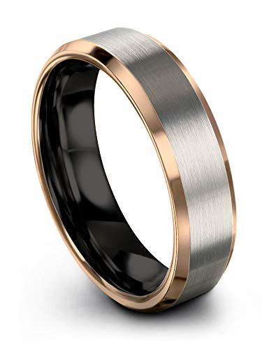 Midnight Rose Collection Tungsten Wedding Band Ring 6mm for Men Women 18k Rose Gold Plated Bevel Edge Black Grey Brushed Polished Size 9