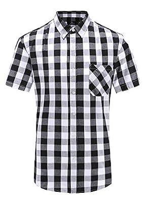 Emiqude Men's Casual Slim Fit 100% Cotton Short Sleeve Plaid Dress Shirt