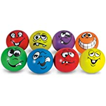 MAC-T PE07209E Funny Face Soft Playground Balls, Assorted Colors, Set of 8