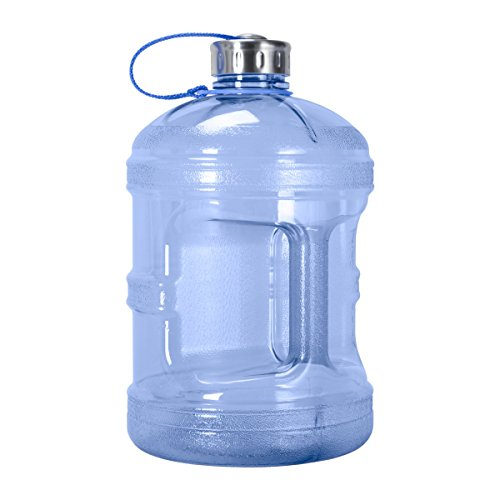 1 Gallon BPA FREE Reusable Plastic Drinking Water Bottle w/ Stainless Steel Cap (Dark Blue)