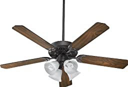 Quorum International 77525-8144 Capri V 52-Inch 4 Light  CFL Ceiling Fan, Toasted Sienna Finish with Faux Alabaster Glass Shades and Reversible Blades