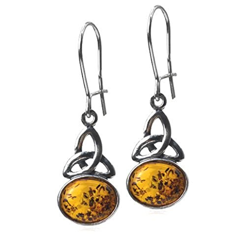 Honey Amber Sterling Silver Celtic Earrings