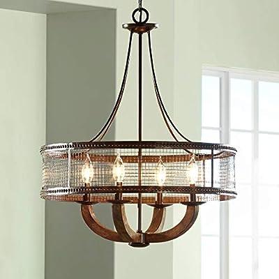 """Frankton Industrial 22"""" Wide Bronze Chandelier"""