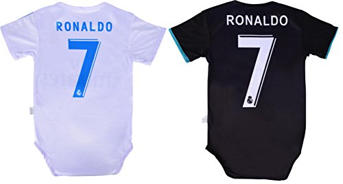 Infant Jersey - World Cup Baby Cristiano Ronaldo #7 Real Madrid Soccer Jersey Baby Infant and Toddler Onesie Romper Premium Quality - Home and Away PACK OF 2 (12-18, Pack of 2)