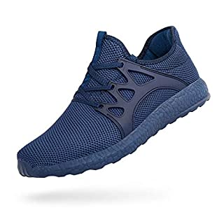 MARSVOVO Men's Sneakers Running Tennis Shoes Ultra Lightweight Air Knitted Breathable Mesh Fashion Athletic Gym Sports Non Slip Casual Walking Shoes Blue Size 10.5