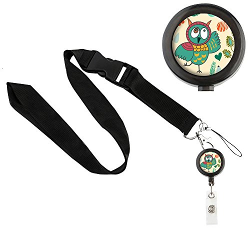 translucent-retractable-badge-holder-reel-key-chain-reel-with-black-lanyard-for-key-cards-and-id-car