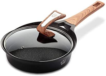 KI 9.5inch Ceramic Non Stick Fry Pans With Lid, Induction Compatible Deep Frying Pan, Marble Skillet Saute Pan 1 Year Warranty