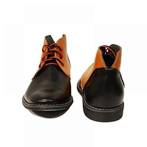 Orange et noir Bottes main ŽlŽgant - main Colorful italiennes en cuir Souliers simple Oxfords formelle prime uniques Souliers de Vintage Gift Lace Up Robe Hommes