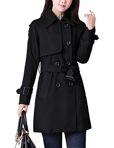 Yeokou Women's Casual Slim Long Belted Double Breasted Plaid Wool Pea Coat Black (Large, Black) ()