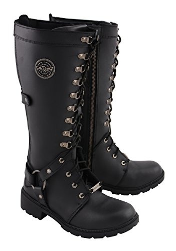 Milwaukee Leather Women's Combat Style Harness Boot (Black, 10)