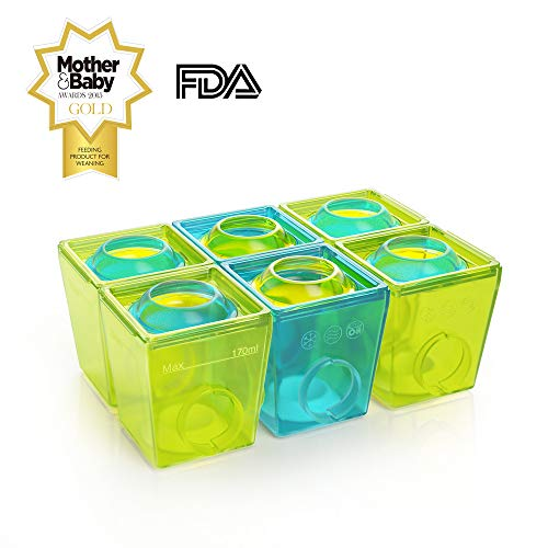 Brother Max Baby Food Storage Containers - Homemade Food Freezer Containers, Easy Pop Out, BPA Free, 1.35oz, Blue/Green (6 Pack)