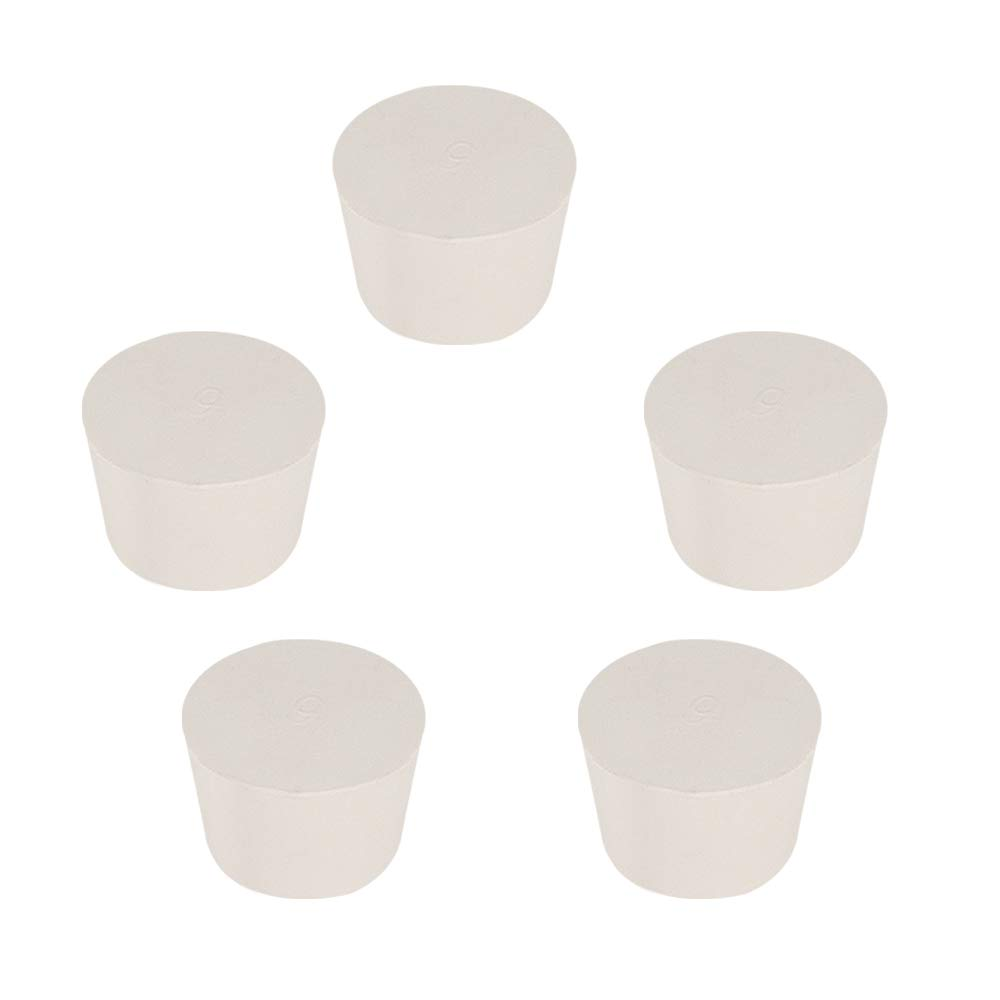 StonyLab Solid Rubber Stoppers, 5-Pack 9# White Tapered Lab Seal Rubber Stoppers