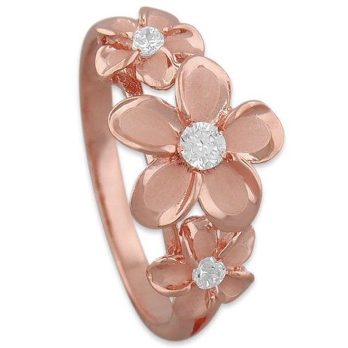 14kt Rose Gold Plated Sterling Silver Hawaiian Three Plumeria Ring Size 8