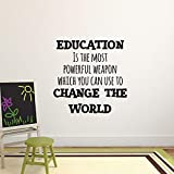 "inspiring living room accent wall Vinyl Wall Art Decal - Education is The Most Powerful Weapon Which You Can Use to Change The World - 23"" x 23"" - Motivational Quote - Living Room Bedroom Home School Wall Decor Removable Sticker"