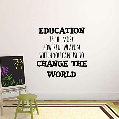 "Vinyl Wall Art Decal - Education is The Most Powerful Weapon Which You Can Use to Change The World - 23"" x 23"" - Motivational Quote - Living Room Bedroom Home School Wall Decor Removable Sticker"
