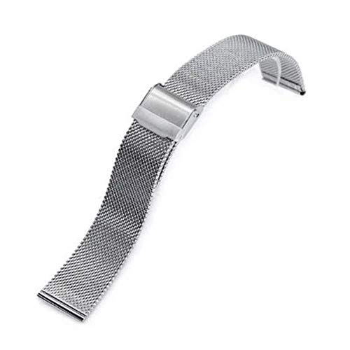 Polished Mesh - Strapcode Watch Bracelet 18mm, 20mm or 22mm Classic Vintage Knitted Superfine Wire Mesh Band, Polished