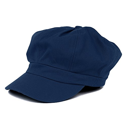 (Women's Lightweight 100% Cotton Soft Fit Newsboy Cap with Elastic Back - Navy)