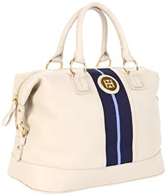 Tommy Hilfiger Th Logo Pebble Leather Bowler Satchel,Winter White,One Size