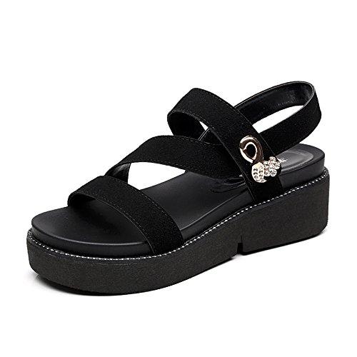YMFIE Las señoras de Verano de Gamuza Abierta Sandalias de Punta de Moda Casual Antideslizante Zapatos de Playa B