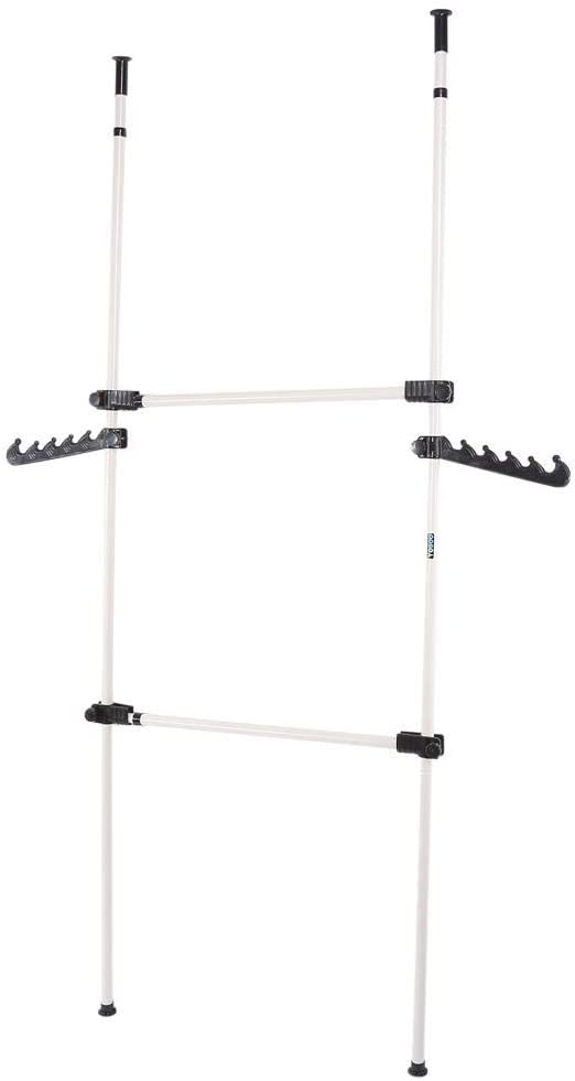 Heavy Duty Clothes Rack 2 Poles 2 Bars Telescopic Coat Hanger Wardrobe Organiser Cloth Rail Garment Rack Stainless Steel Poles and Bars 281cm - 329cm Adjustable Height for Dressing Room or Bedroom
