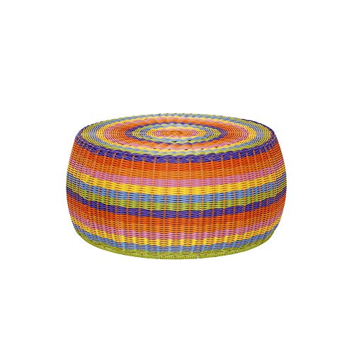 Outdoor Footstool - Household Essentials ML-5006 Colorful Indoor Outdoor Resin Wicker Foot Stool Ottoman Storage Basket, Rainbow