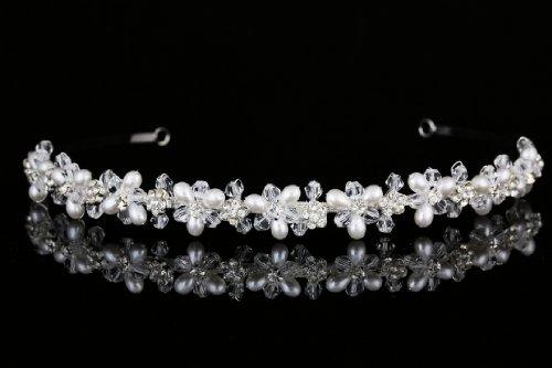 Handmade Bridal Flower Rhinestone Crystal Pearls Prom Wedding Headband Tiara (Prom Crystal Rhinestone)