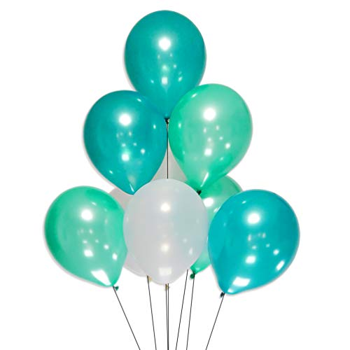 AZOWA White Teal Turquoise Latex Balloons 12 inch Party Decorations Balloons Pack of 100 for Birthday Party Festival Celebrate Decorations