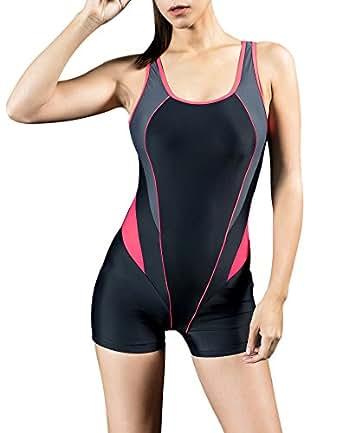 Uhnice Womens Athletic Boyleg One Piece Swimsuit Racing Training Sports Swimwear (Large(AU14-16), Black/Red)