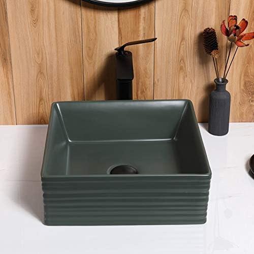 DS- バスルームの洗面台、丸い正方形のセラミック(タップ無し)カウンタ上流域家庭シンクの洗面化粧台、単一流域、利用可能な2色 洗面ボール && (Color : B)
