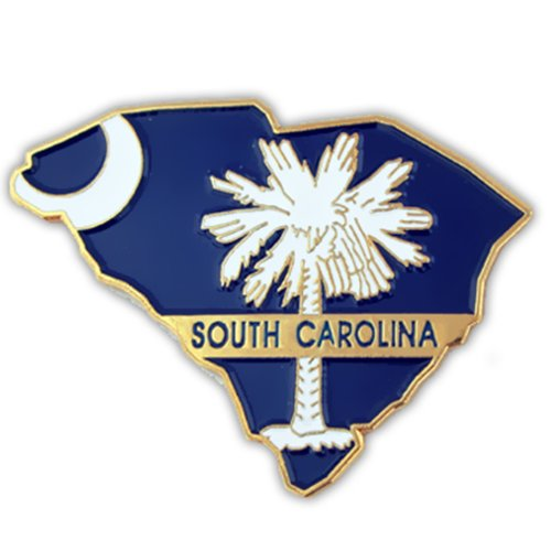 (PinMart State Shape of South Carolina and SC Flag Lapel Pin)