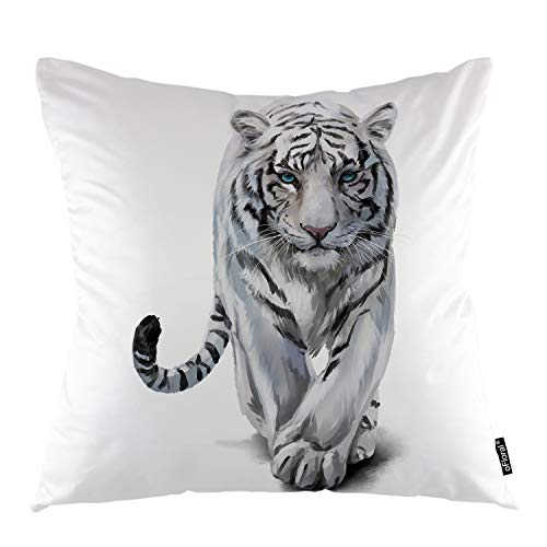 (oFloral Tiger Throw Pillow Covers Albino Animal Furry Hairy Tiger Big Wild Cat Decorative Square Pillow Case 18