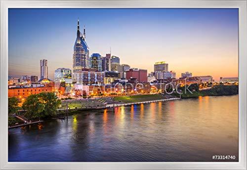 Tn Framed Nashville (Nashville, Tennessee - City Skyline - Photography A-92397 (36x24 Giclee Art Print, Gallery Framed, Silver Wood))