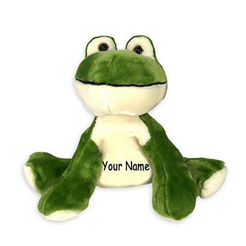 Fiesta Toys Personalized Comfies Frog Bean Bag Sitting Animal Plush Stuffed Toy for Boys or Girls with Custom Name