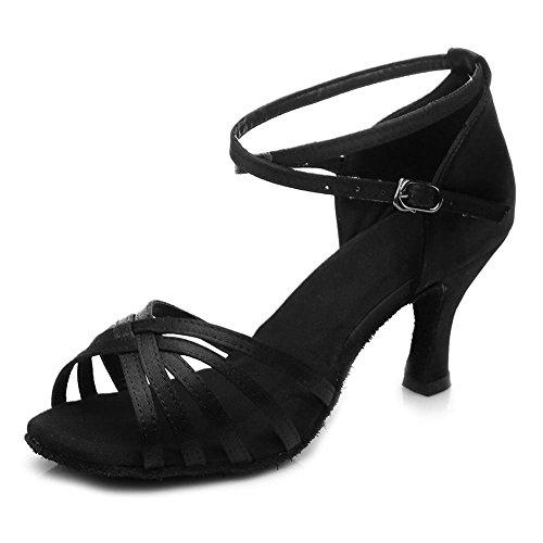 YFF Women's Ballroom Latin Dance Schuhe hochhackige Salsa 15 Stil Heiß , Schwarz, UK 6 / US 8 / EU 39,7 CM
