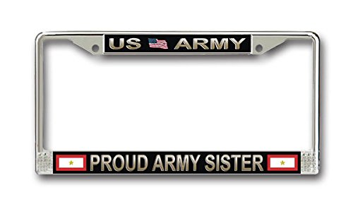 MR3Graphics One Gold Star Proud Army Sister License Frame- American Made - Veteran Approved!